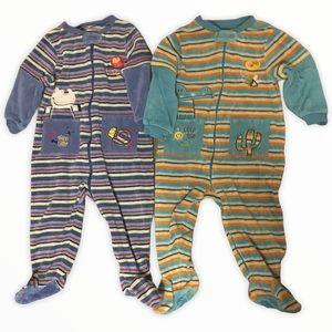 Lot of 2 Gagou Tagou Footed Velour Pajamas 18M